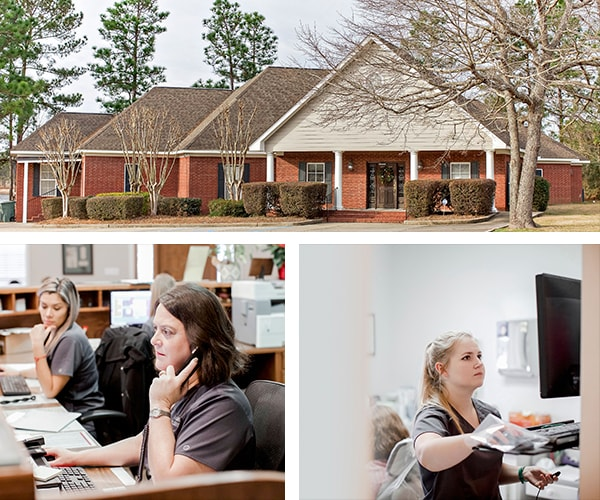 A collage of our dental office and our dental assistants offering a variety of services