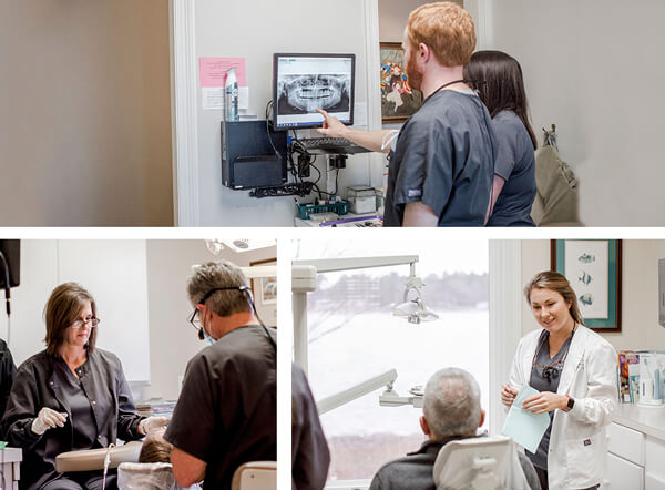 A collage of our team of doctors offering restorative dentistry in various settings