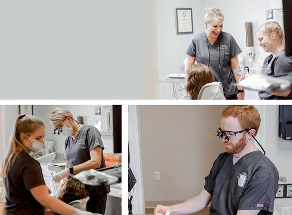 A collage of our dental experts in the reviewing the ideal services for patients