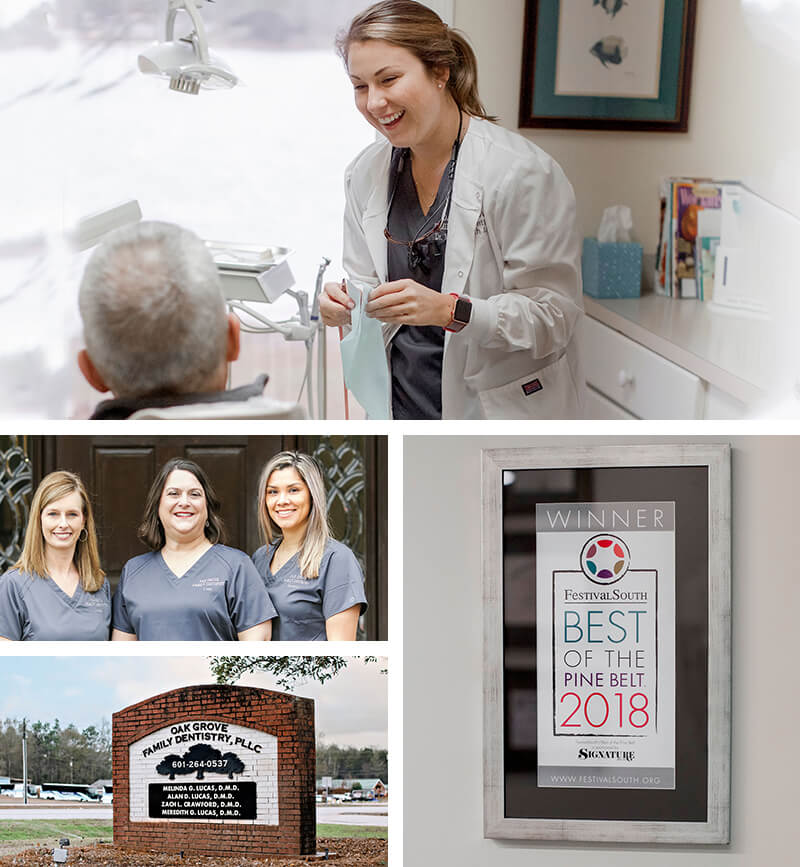 Collage showing the certificates and team at Oak Grove Family Dentistry